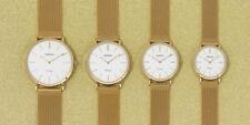 Oozoo Vintage Damen Herrenuhr Milanaise gold/weiß ultraflach 4 Grössen 9908-9911