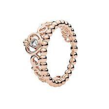 6 US S925 My Princess Crown Tiara 14k Rose Gold Pl CZ Ring by Pandora's Angels