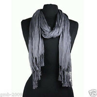 Fashion Women's Men's Soft Solid Long Crinkle Silk Cotton Neck Scarf Dark Gray