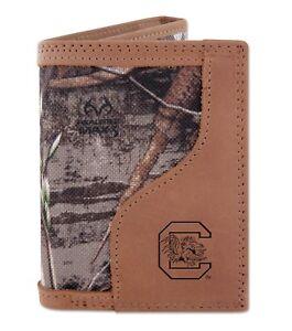 South Carolina Gamecocks Tri-fold Realtree Max-5 Camo & Leather Wallet USC Cocks