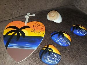 Life Is Better at The Beach sunset Wooden slate Plaque painted stone rock pebble