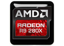"AMD Radeon Graphics R9 280X 1""x1"" Chrome Domed Case Badge / Sticker Logo"