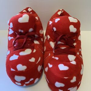 Snooki Slippers by Happy Feet Red/White Love Hearts Non-Skid Bottoms Size XL