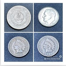 2 Cent Piece. Old Coin Lot. 90% Silver Coin AU Or BU? Indian Head Penny. 2 IHP.