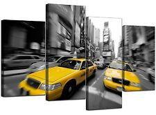Large Black White Yellow Taxi New York Canvas Art 130cm Pictures 4028