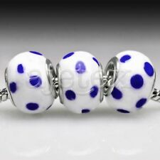 5pcs Silver Murano Glass European Beads Lampwork Big Hole Fit Bracelet LB0050