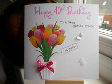 Handmade Personalised Female  Birthday Card 40th 50th 60th 70th 80th 90th 100th