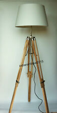 Collectible Teak Wood Tripod FLOOR LAMP Shade Light Fixture Christmas Gift lamp