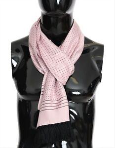 NEW DOLCE & GABBANA Scarf Pink Polka Dotted Silk Fringes Necktie Men's Wrap