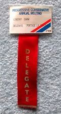 Manitoba Conservative Party 1970s vintage Delegate Card & Ribbon slc