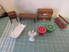 Vintage doll house furniture lot bath tub piano more 1960s Fomerz?