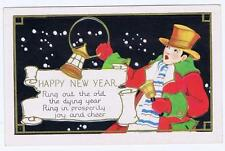 Happy New Yea, ring out the old, man ringing bell, red coat, orange top hat #59