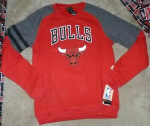 NEW ADIDAS NBA Chicago Bulls Crew Sweatshirt Youth Boys L Large 14 16 NWT