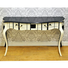 Vintage Style Shabby Chic Black Cream Wooden Mahogany Painted Console Hall Table