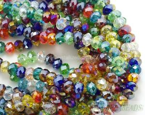 Mixed 100Pcs Top Czech Crystal Faceted Rondelle Spacer Beads 3mm 4mm 6mm 7mm 8mm