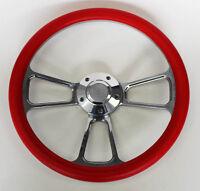 "Blazer C10 C20 C30 Chevy Pick Up Steering Wheel Red and Billet 14"" Bowtie Cap"