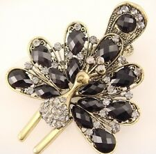 "bronze hair clip smoky black crystal & bead peacock bird vintage stye 3""   FIOJ"