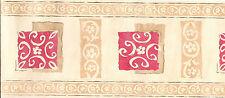 Wall Border.. Classic Floral Design. Cream Red Orange, 5 M, Wallpaper Zen 5013