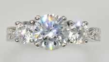 2ct Three Stone Ring Vintage Top Russian Quality CZ Extra Brilliant Size 4