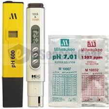 PH600 + TDS-4TM + pH 7 + 1382 ppm COMBO - Milwaukee HM Digital Meter/Solution