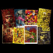 Psychedelic Pop Art Poster Postcards Bob Dylan Jimi Hendrix Cream Oz UFO Big O