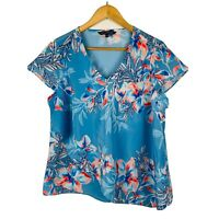 Liz Jordan Womens Top Size 12 Floral Multicoloured Short Sleeve Good Condition