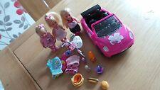 Girl Doll Set Car Bike 4in Dolls x3 Picnic Beach Clothes Accessories