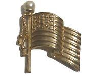 vintage gold tone American flag pin brooch