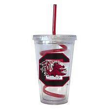NCAA South Carolina Gamecocks 16 oz Double Wall Acrylic Tumbler with Swirl Straw