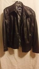 London Fog Black Real Leather Quilted Liner Jacket Size XL #H01