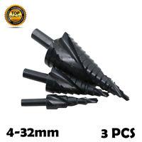 New 3Pcs Set Large HSS Step Cone Drill Titanium Bit Set Hole Metal Cutter +Pouch