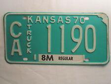 LICENSE PLATE Car Tag KANSAS 1970 CA 1190 TRUCK Clark County [N1]