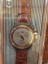 "1991 Swatch Watch Chrono ""Goldfinger"" w/ Leather Band - SCM 100 - Collector Pie"