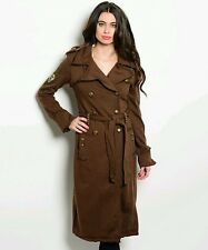 Brown Studded Double Breasted Trench Coat