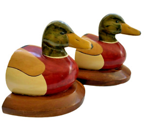 Vintage Wood Carved Mallard Duck Bookends 19cm Tall