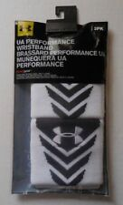"Under Armour Performance Wristbands White/Black 3"" Mens Women's"