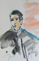 JOSE TRUJILLO ORIGINAL Watercolor Painting Portrait MODERNISM EXPRESSIONISM ART