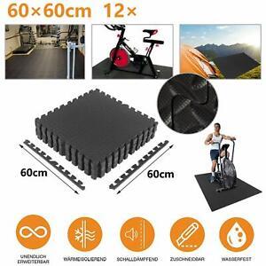 12×Bodenschutzmatten Set 60x60cm Unterlegmatten Bodenschutz Puzzlematte DE