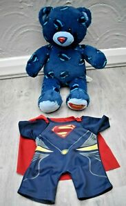 BUILD A BEAR WORKSHOP BLUE SUPER MAN BEAR WITH CLOTHES COSTUME CAPE OUTFIT