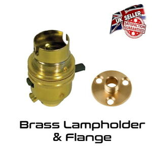 Brass Lamp Holder Switched - Bayonet BC - Bulb Holder & Flange Plate *UK Stock*