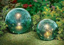 Twinkling Light Garden Globe Gazing Glass Balls Set Of 2 Outdoor Decor Patio New
