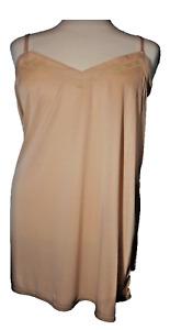 Ladies V Neck Nude Full Slip/ Petticoat/ Chemise Sizes 18 - 30 Plus Size