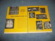 """1959 Indy 500 Race Car Preview Vintage Article """"Indy Design for '59"""""""