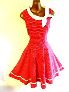 Joe Browns 8 Dress 50's Rockabilly flared Style in red & white spots NEW (2172