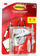 NEW  3M Command Damage-Free Hanging White 18 Hooks 24 Strips
