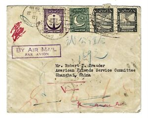 Cover posted from Pakistan Scott 28 34 and 35 stamps to Shanghai China in 1949