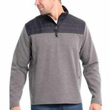 New Eddie Bauer Mixed Media Pullover Mens Xl Shirt Gray 1/4 Zip Layer Nwt