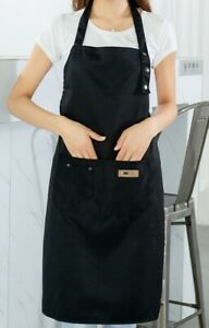 Denim Canvas Apron Adjustable Pocket Baking Cooking Water Resistant Kitchen Chef