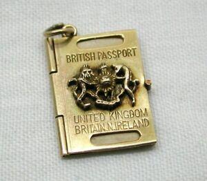 1960's Vintage 9 carat Gold British Passport Charm
