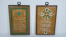 2 Irish Wall Plaques Legend of The Shamrock & Wearin of The Green St. Paddys Day